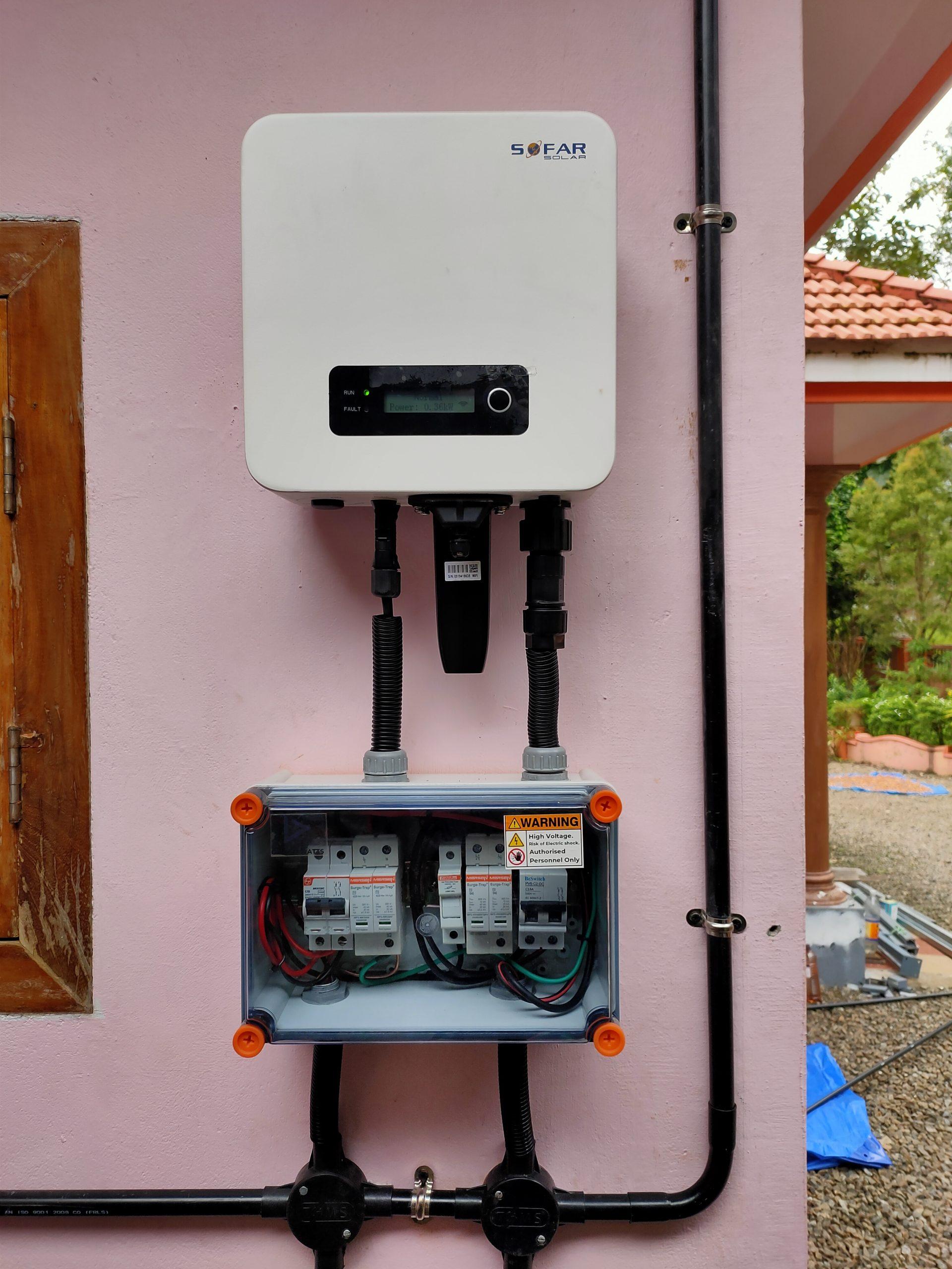 2 kw Solar Ongrid Power Plant at Kothamangalam Kerala