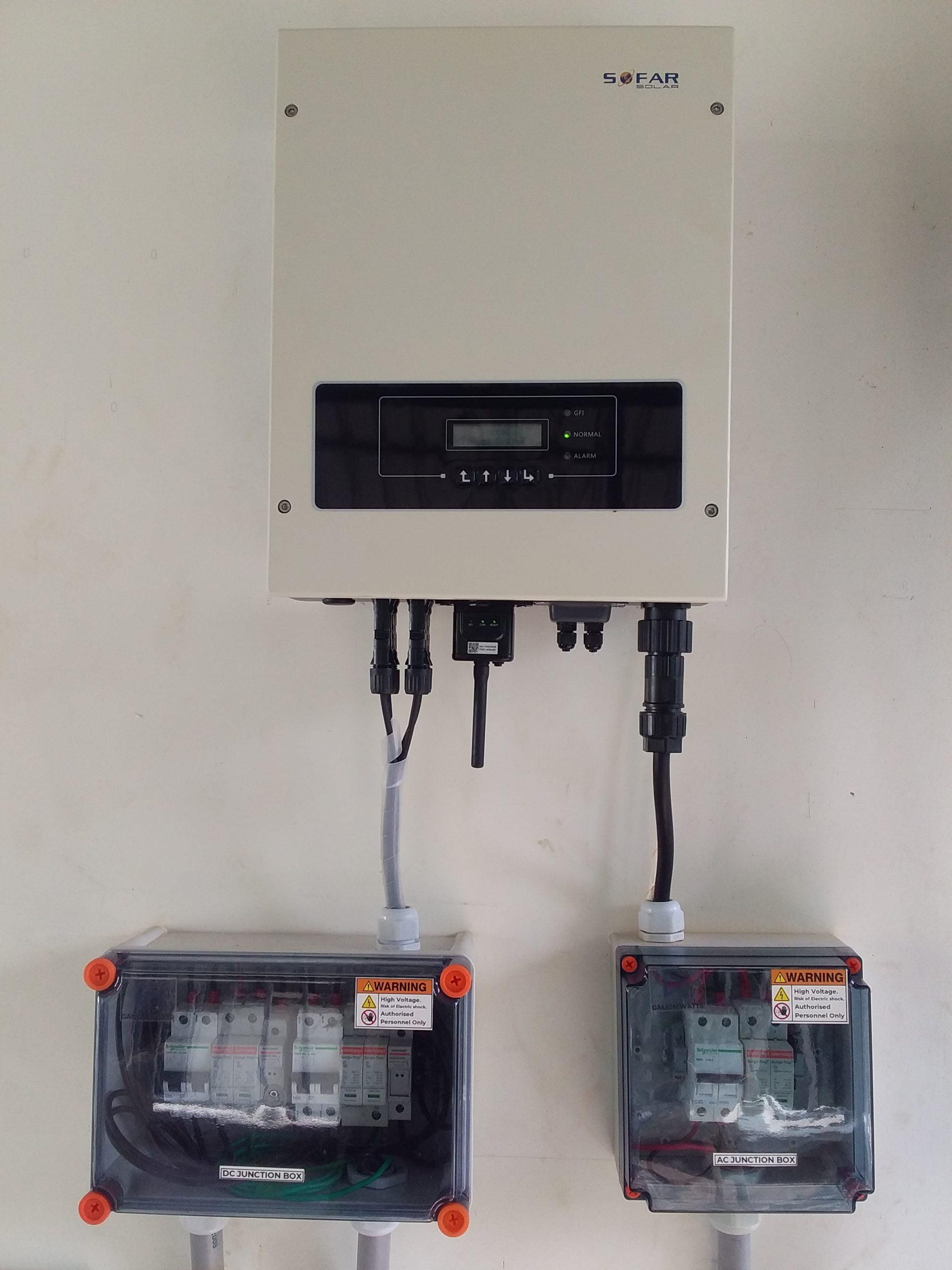 Sofar solar ongrid inverter solar ,APS solar panel 380 W,Chenganoor ,kerala